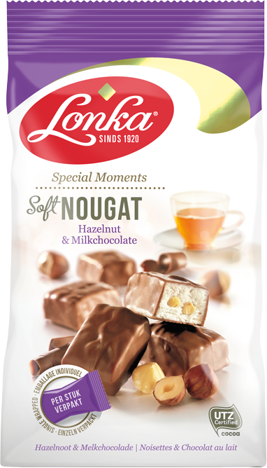Delicious, soft nougat, filled with Lonka caramel.